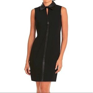 Calvin Klein Faux Leather Collared Shirt Dress